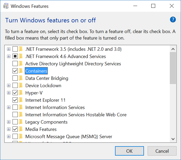 Create and run Hyper-V containers using Docker on Windows 10